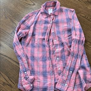 Jcrew pink plaid button down size 0